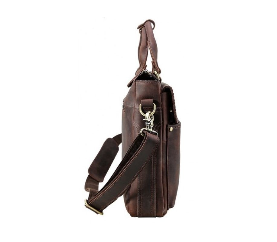 Сумка кожаная tiding bag коричневая t1096 - купить в Украине 1438335e48d10